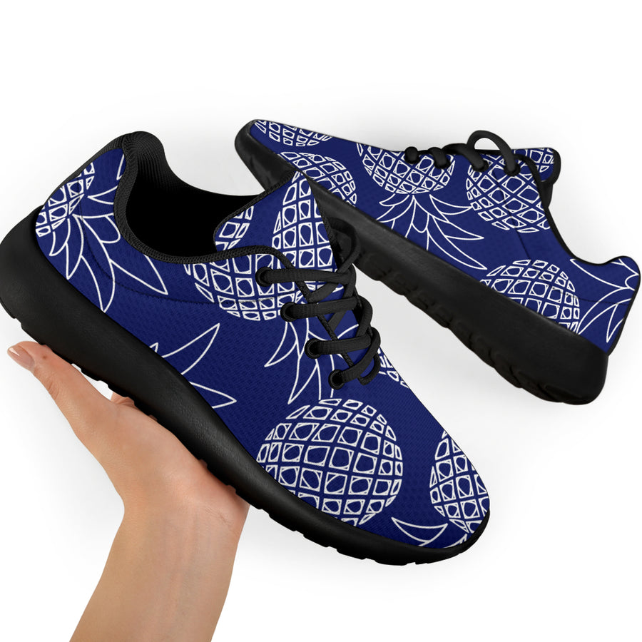 Blue Pine Pineapple Print Running Shoes
