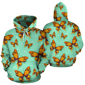 Yellow Butterfly Print Hoodie