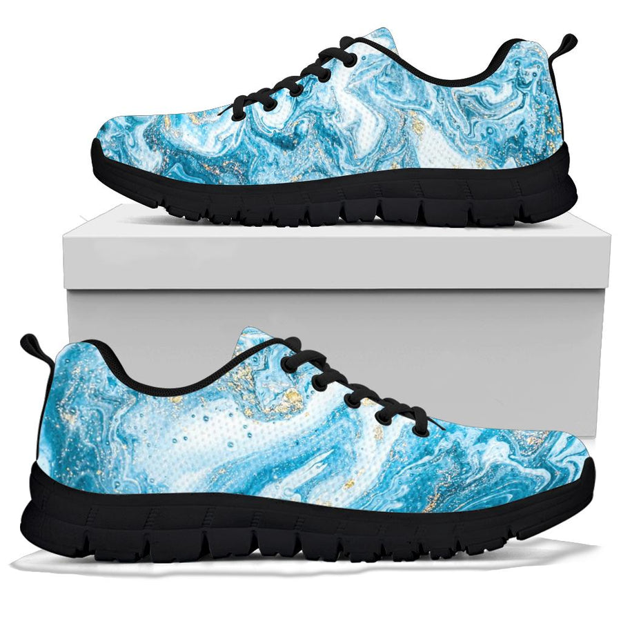 Golden Powder Blue Marble Sneakers