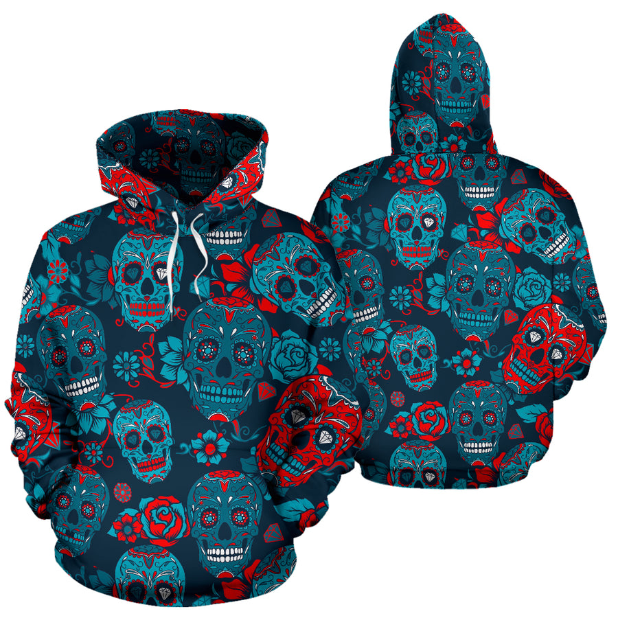 Blue And Red Floral Sugar Skull Hoodie