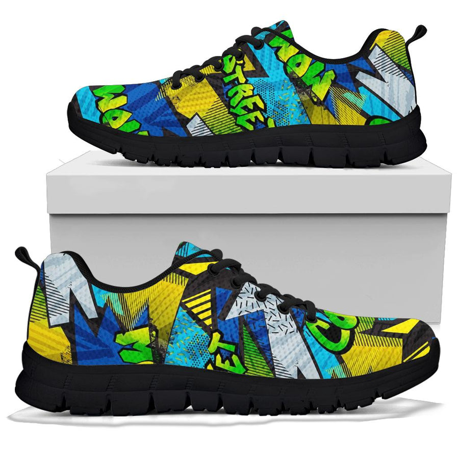 Abstract Graffiti Print Sneakers