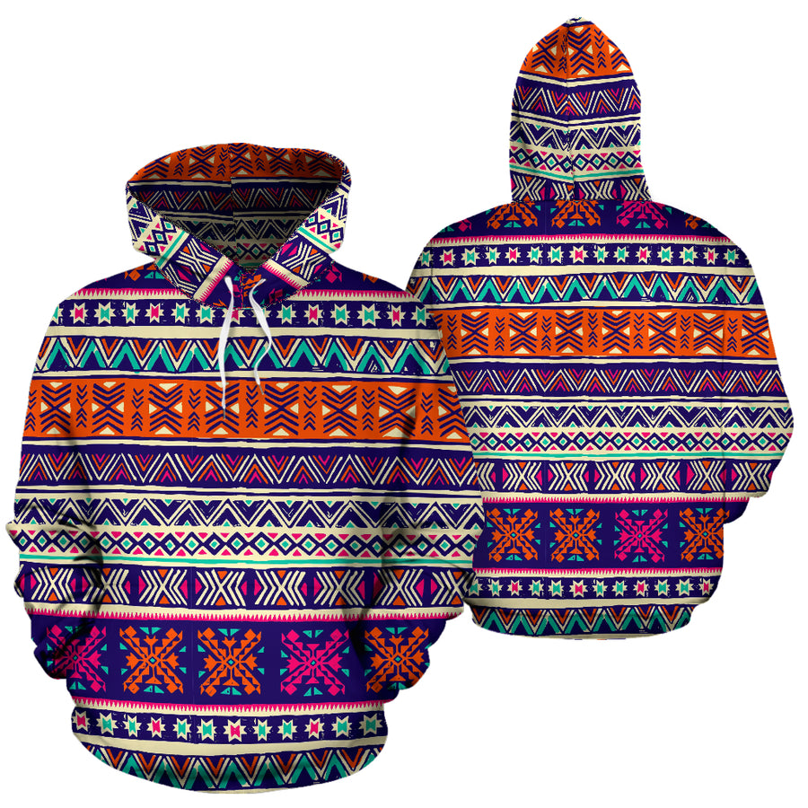 Multicolor Native Aztec Geometric Hipster Hoodie