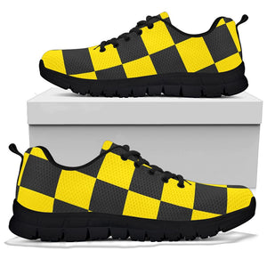 Yellow Checkered Print Sneakers