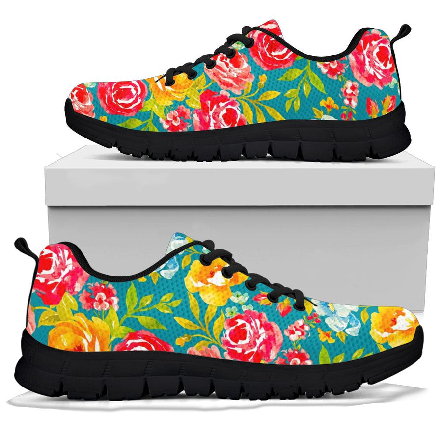 Colorful Rose Flower Sneakers