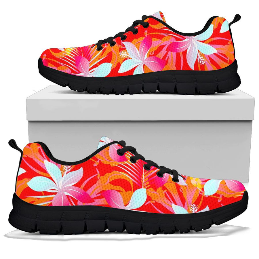 Red And Orange Hibiscus Hawaiian Print Sneakers