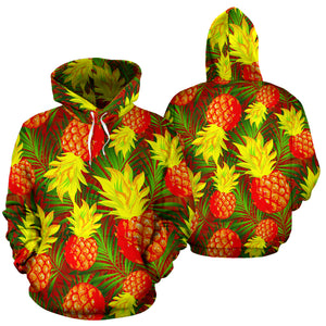 Yellow Neon Pineapple Hawaiian Print Hoodie