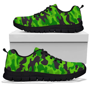 Lime Green Camo Print Sneakers