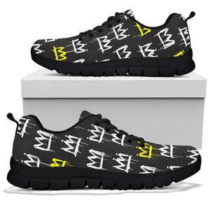 Graffiti Hiphop White And Yellow Crown Print Sneakers
