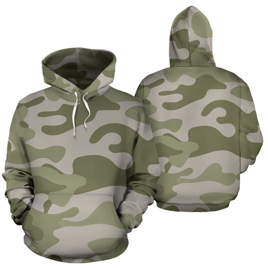 Grey And Green Camouflage Print Hoodie