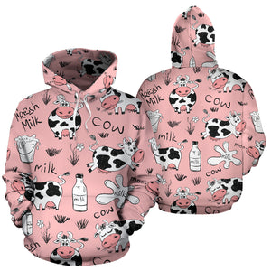 Pink Cow And Milk Print Hoodie