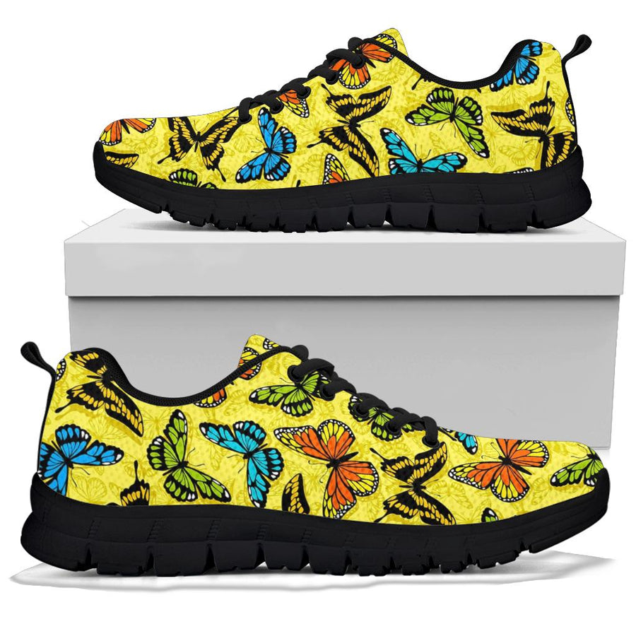 Yellow Butterfly Pattern Print Sneakers