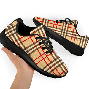 Beige Plaid Tartan Running Shoes