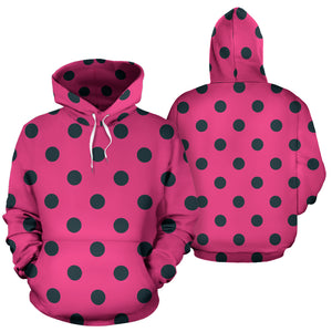 Pink And Black Polka Dot Hoodie
