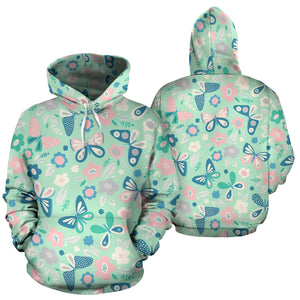 Floral Mint Butterfly Print Hoodie