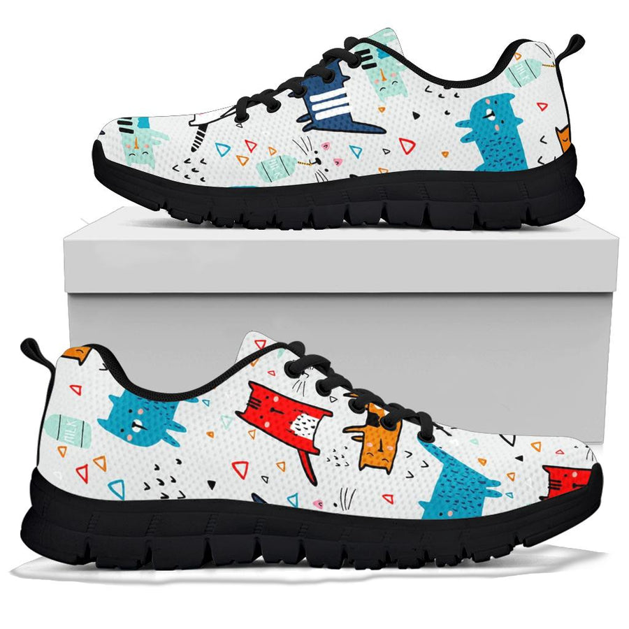 Cute Cartoon Doodle Cat Print Sneakers