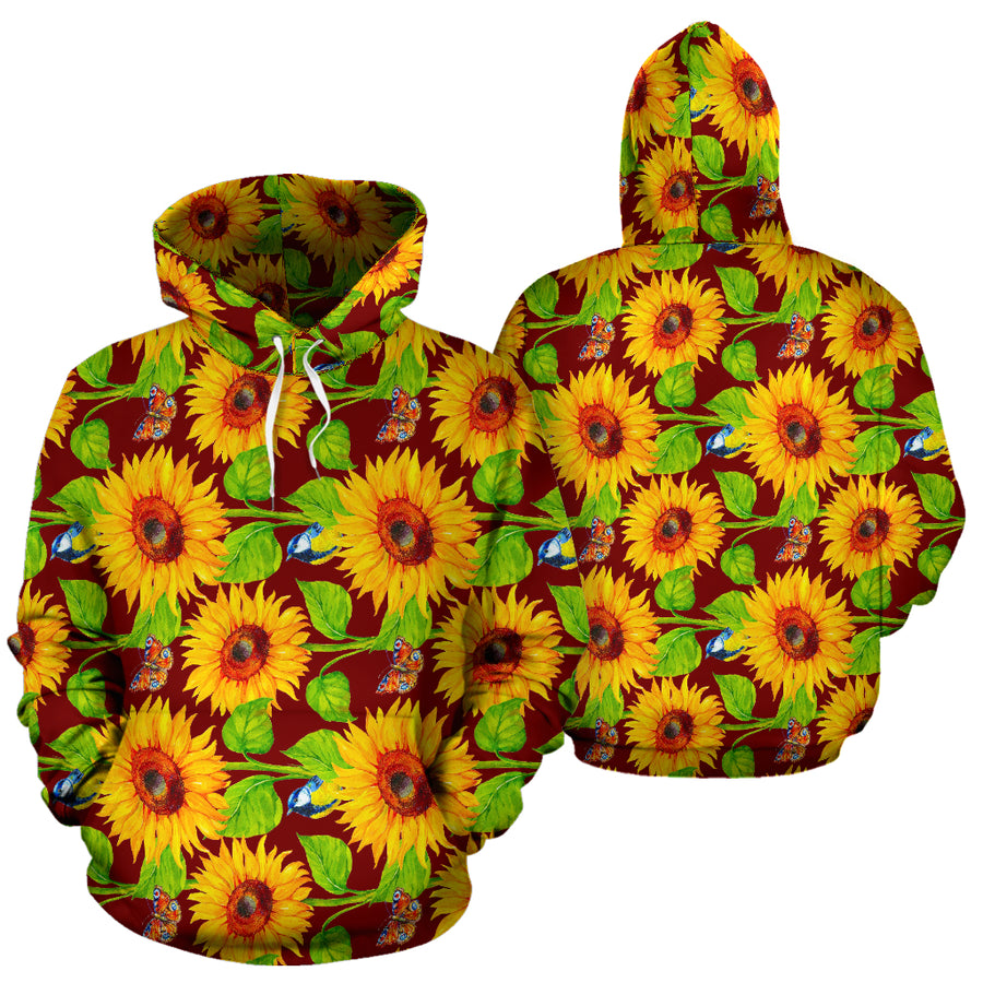Sunflower With Bird And Butterfly Hoodie