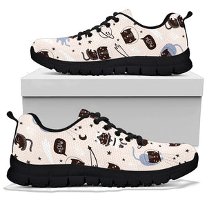 Cute Meow Astronaut Cat Print Sneakers
