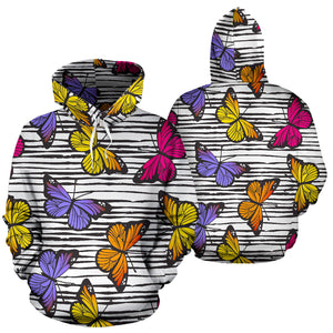Striped Butterfly Print Hoodie