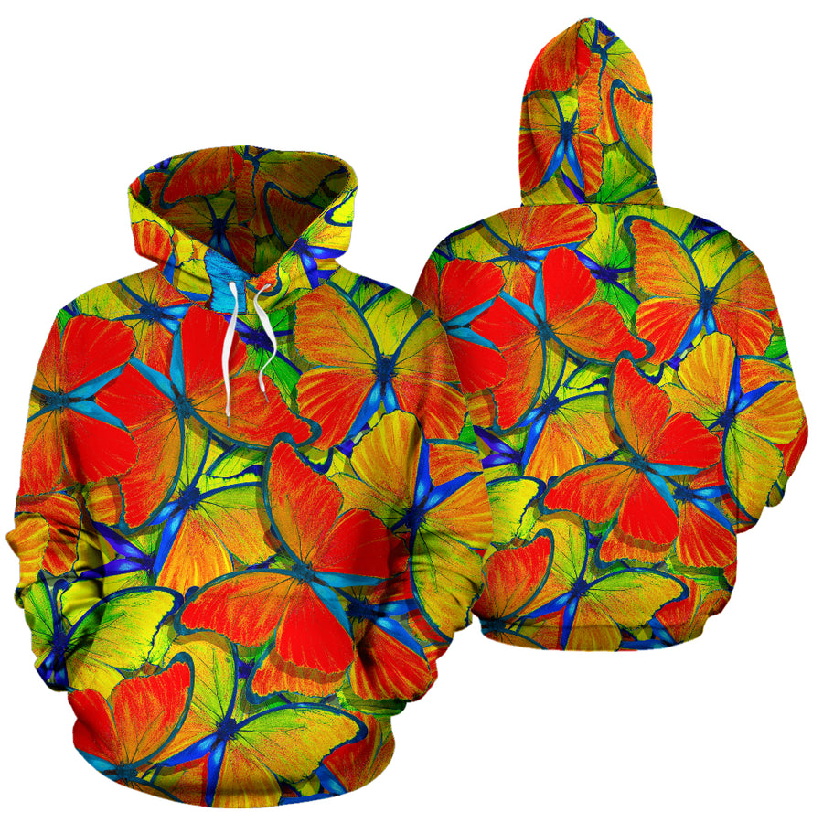 Orange And Blue Butterfly Print Hoodie