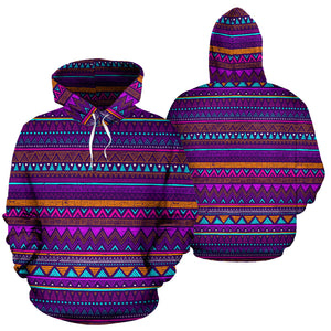 Multicolor Native Aztec Doodle Striped Hoodie