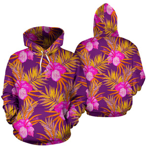 Watercolor Hibiscus Flower Hawaiian Print Hoodie