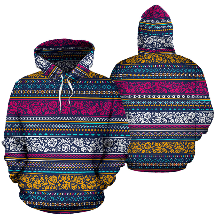 Multicolor Rose Floral Abstract Tribal Aztec Hoodie