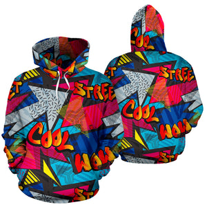 Abstract Graffiti Wow Print Hoodie