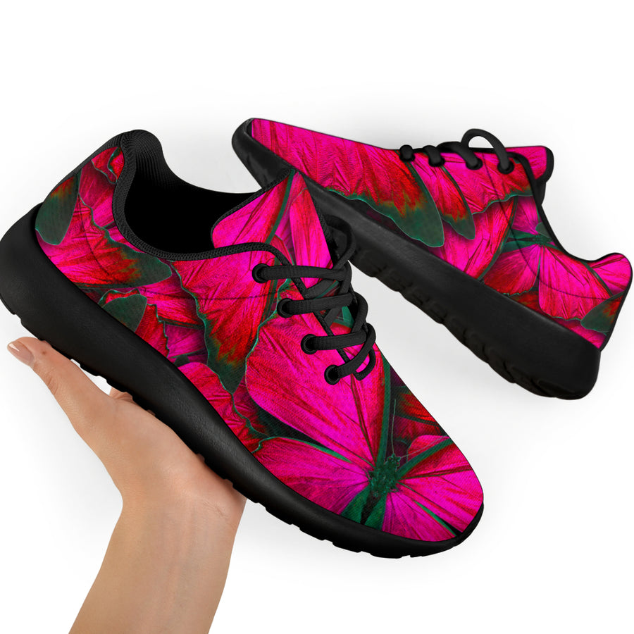 Black Pink Butterfly Print Running Shoes