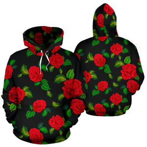 Embroidery Red Rose Floral Print Hoodie