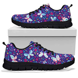 Blue Butterfly Floral Print Sneakers