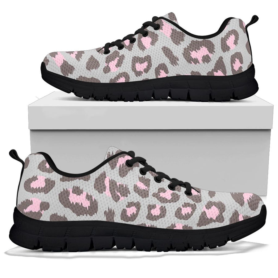 Grey and Pink Leopard Sneakers
