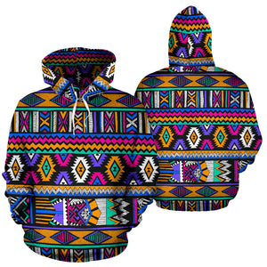 Multicolor Native Aztec Doodle Element Hoodie