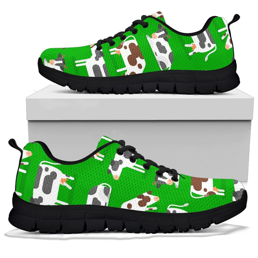 Cow In Green Grass Print Sneakers