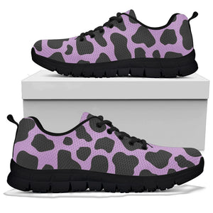Black And Purple Cow Print Sneakers