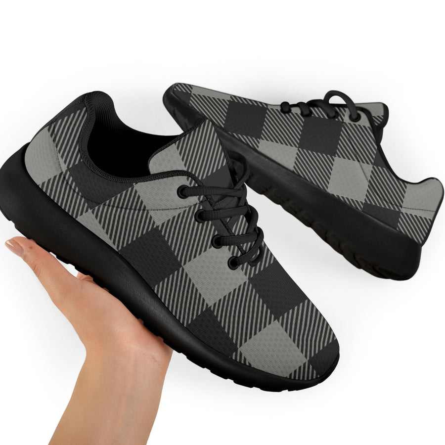 Grey Plaid Running Shoes
