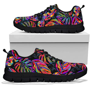 Neon Multicolor Palm Leaf Print Sneakers