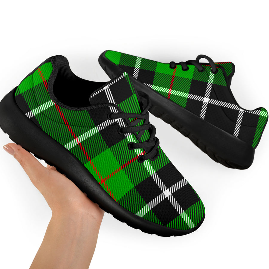 Christmas Tartan Green Plaid Scottish Running Shoes