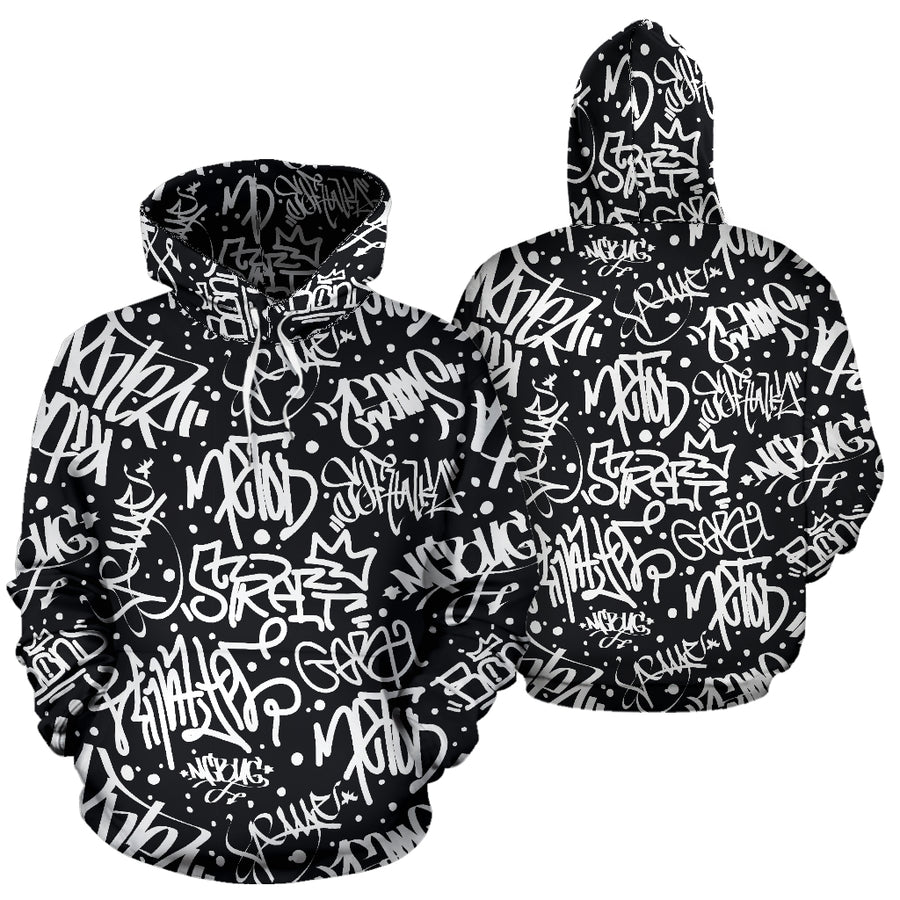White And Black Graffiti Doodle Text Print Hoodie