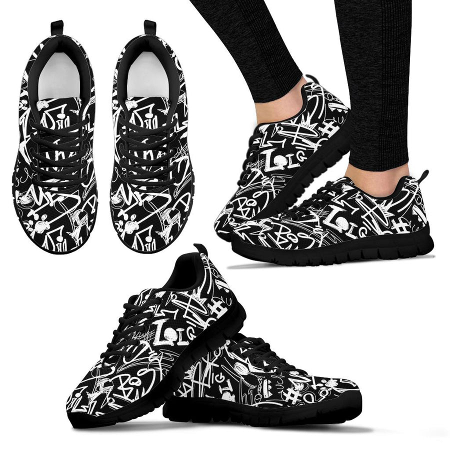 Black And White Graffiti Doodle Text Print Sneakers
