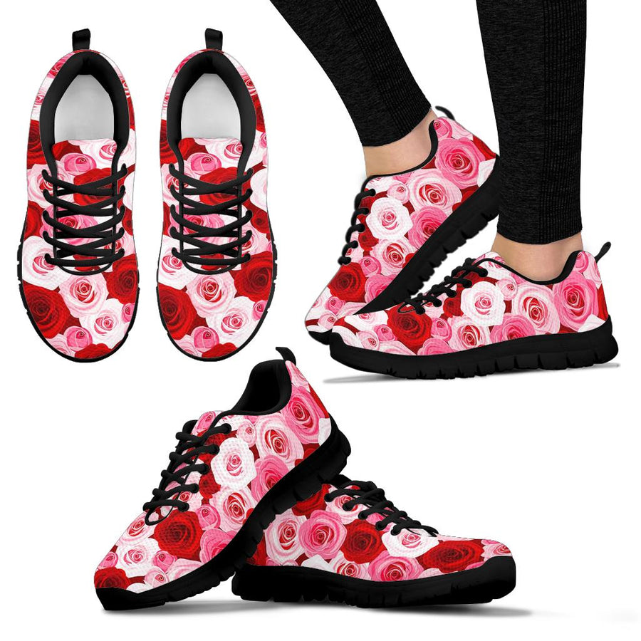 Red And Pink Rose Floral Sneakers