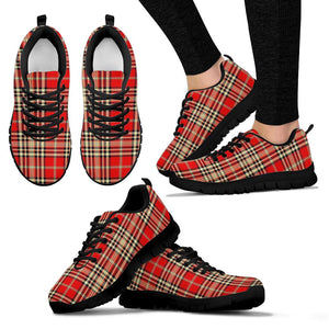 Red Plaid Tartan Scottish Sneakers