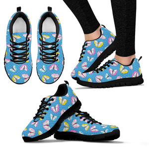 Blue Polka Dots Butterfly Print Sneakers