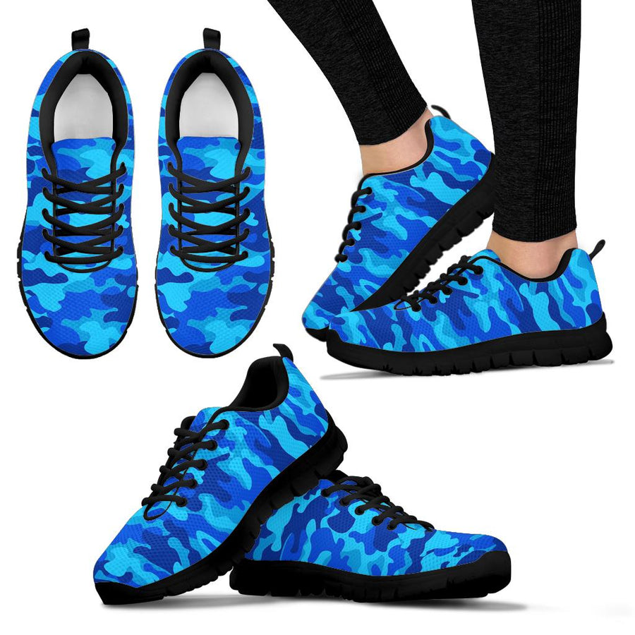 Blue Camo Print Sneakers