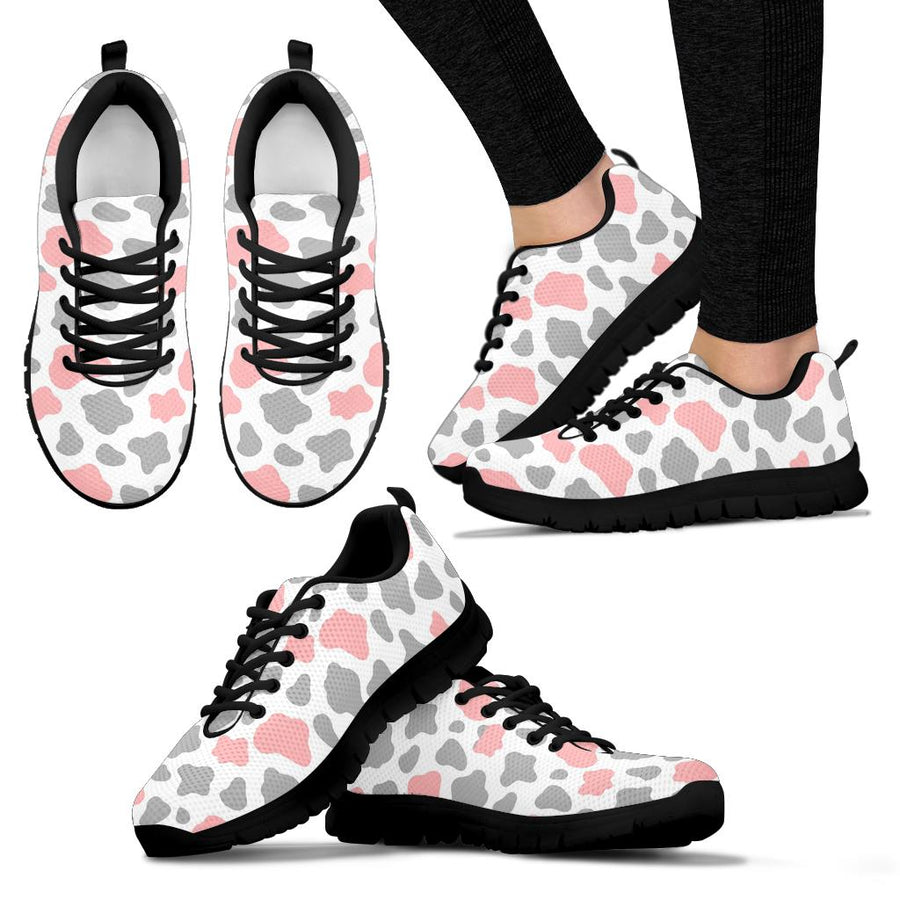 Pink And Grey Cow Print Sneakers