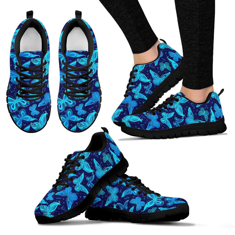 Blue Butterfly Print Sneakers