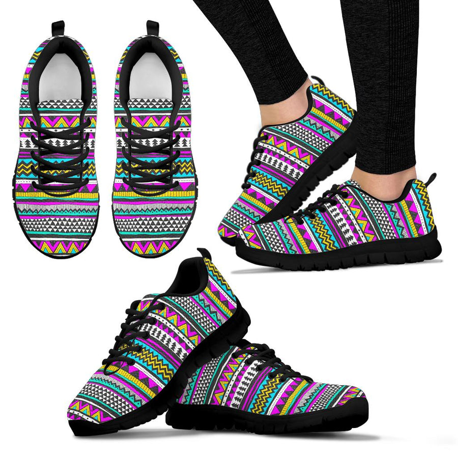 Colorful Indian Aztec Doodle Triangles Sneakers