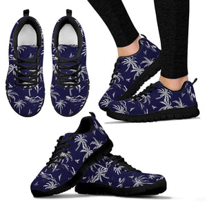 Black Palm Tree Hawaiian Print Sneakers