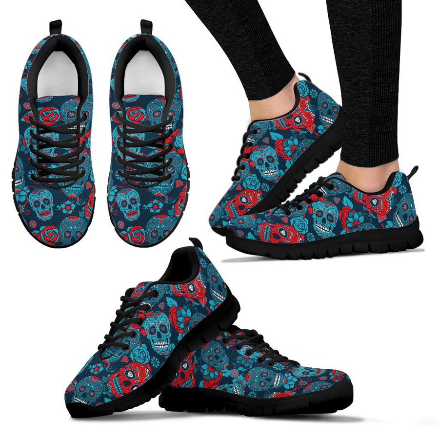 Blue And Red Floral Sugar Skull Sneakers