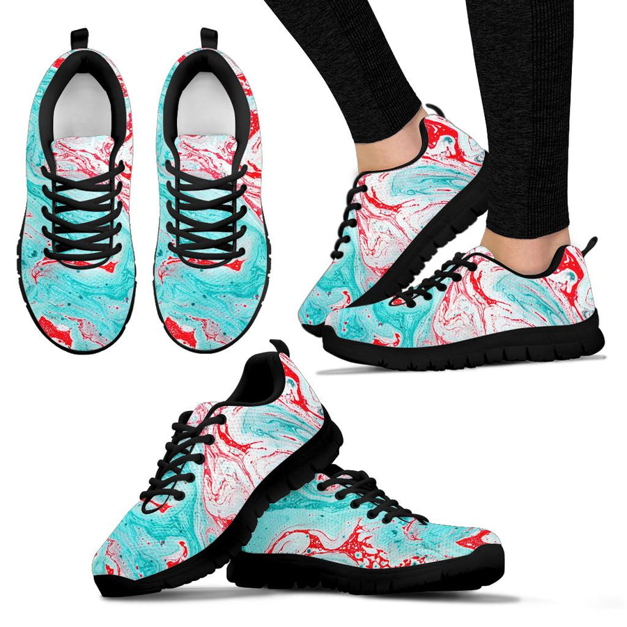 Mixed Red and Turquoise Marble Sneakers