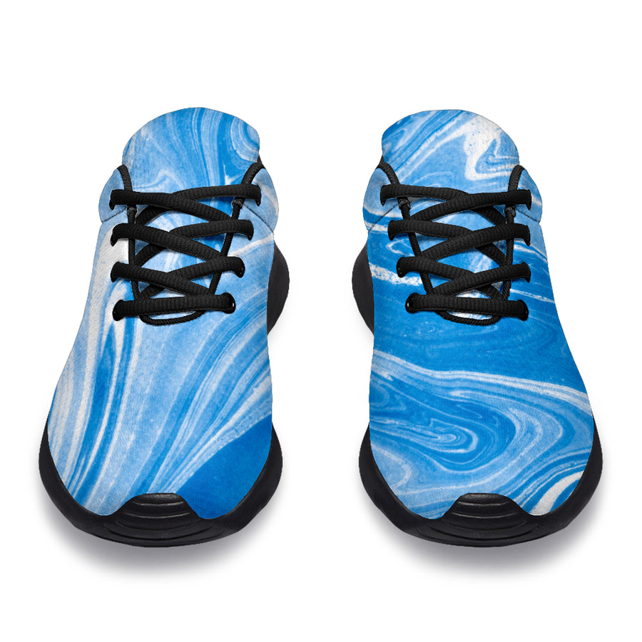 Blue Liquid Marble Running Shoes